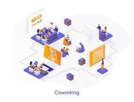 banner web isometrico di coworking. vettore