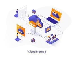 banner web isometrico di archiviazione cloud. vettore