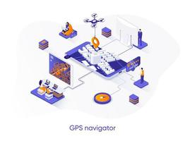 banner web isometrico del navigatore gps.