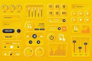 elementi dell'interfaccia utente per l'app mobile del lettore musicale.