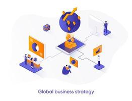 banner web isometrico di strategia aziendale globale.