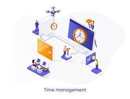 banner web isometrico di gestione del tempo. vettore