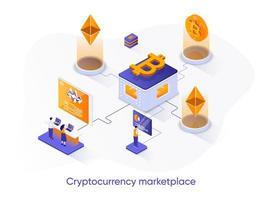banner web isometrico del mercato di criptovaluta.
