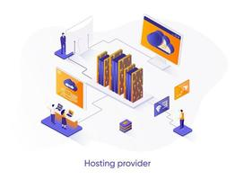 banner web isometrico del provider di hosting.