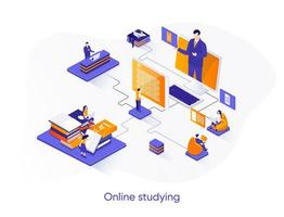 banner web isometrico studiando online. vettore