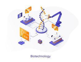 banner web isometrico della società di biotecnologia. vettore