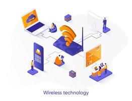 banner web isometrico di tecnologia wireless. vettore