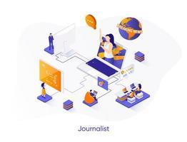 banner web isometrico giornalista. vettore