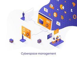 banner web isometrico di gestione del cyberspazio.