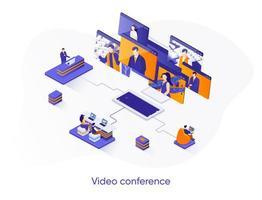 banner web isometrico di videoconferenza. vettore
