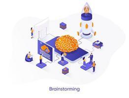 banner web isometrico di brainstorming. vettore