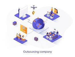 banner web isometrico di società di outsourcing. vettore