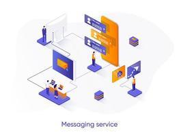 banner web isometrico di servizio di messaggistica. vettore