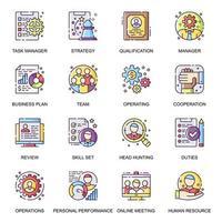 set di icone piane di gestione delle persone. vettore