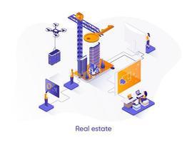 banner web isometrico immobiliare. vettore