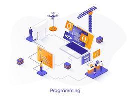 programmazione banner web isometrica. vettore