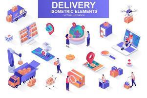 pacchetto di servizi di consegna di elementi isometrici. vettore