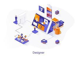 banner web isometrico di design.