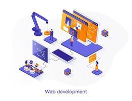 banner web isometrico di sviluppo web. vettore