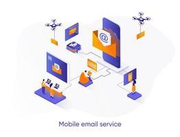 banner web isometrico del servizio di posta elettronica mobile. vettore
