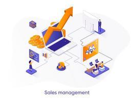 banner web isometrico di gestione delle vendite.