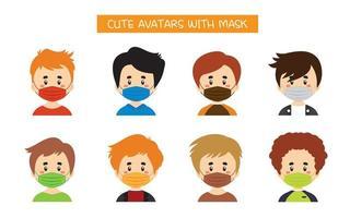 set di simpatici avatar con maschere vettore