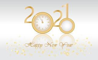 design di lusso del nuovo anno 2021 con orologio d'oro
