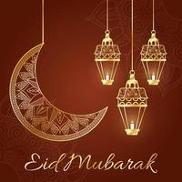 eid mubarak celebrazione lampade appese con la luna vettore