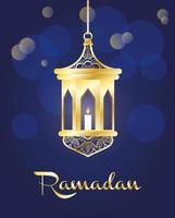 banner celebrazione del ramadan con lampada d'oro vettore
