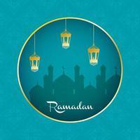 banner di celebrazione del ramadan con moschea vettore
