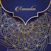 banner di celebrazione del ramadan con mandala d'oro vettore