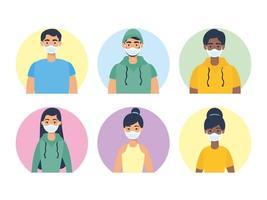 personaggi di giovani con maschere facciali vettore