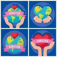 set di banner di beneficenza e donazione vettore