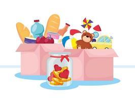 banner di beneficenza e donazione con cibo e giocattoli vettore