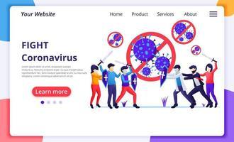 le persone combattono con il virus, combattono il covid-19, la cura del vaccino per il concetto di virus corona. design moderno di pagine web piatte per lo sviluppo di siti Web e siti Web mobili. illustrazione vettoriale
