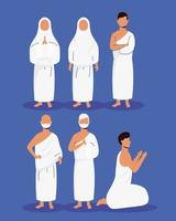 hajj pellegrinaggio persone musulmane vettore