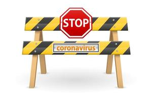 fermare la barriera con il segno di coronavirus
