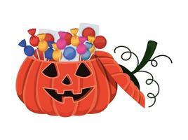 cartone animato di zucca di Halloween con caramelle design vettore
