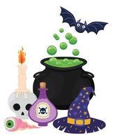 Halloween strega ciotola teschio veleno occhio