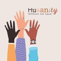 umanità diversa ma uguale e diversità mani