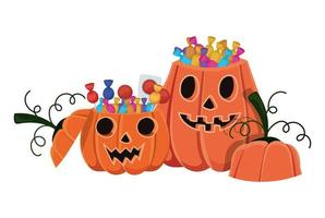 cartoni animati di zucche di Halloween con design di caramelle
