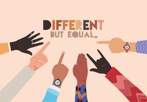 design delle mani della pelle diverso ma uguale e diverso