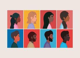 diversità di cartoni animati di donne e uomini in cornici