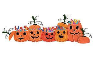 cartoni animati di zucche di Halloween con design di caramelle vettore