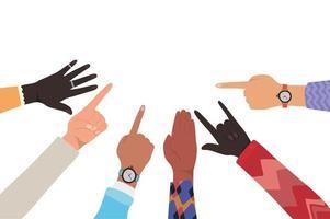 mani con numero uno e segno di roccia