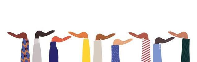 mani aperte di diversi tipi di pelli