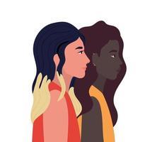 cartoni animati di donne nel design vista laterale