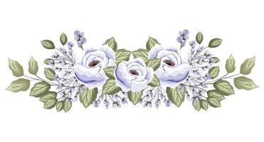 rose bianche fiori con boccioli e foglie pittura vettore