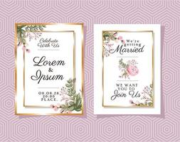 due inviti di nozze con cornici di ornamento d'oro vettore