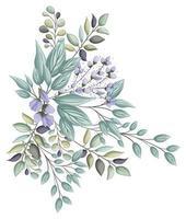 boccioli blu fiori con pittura bouquet di foglie vettore